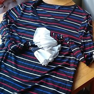 Tommy Hill finger striped scoop neck pullover tee